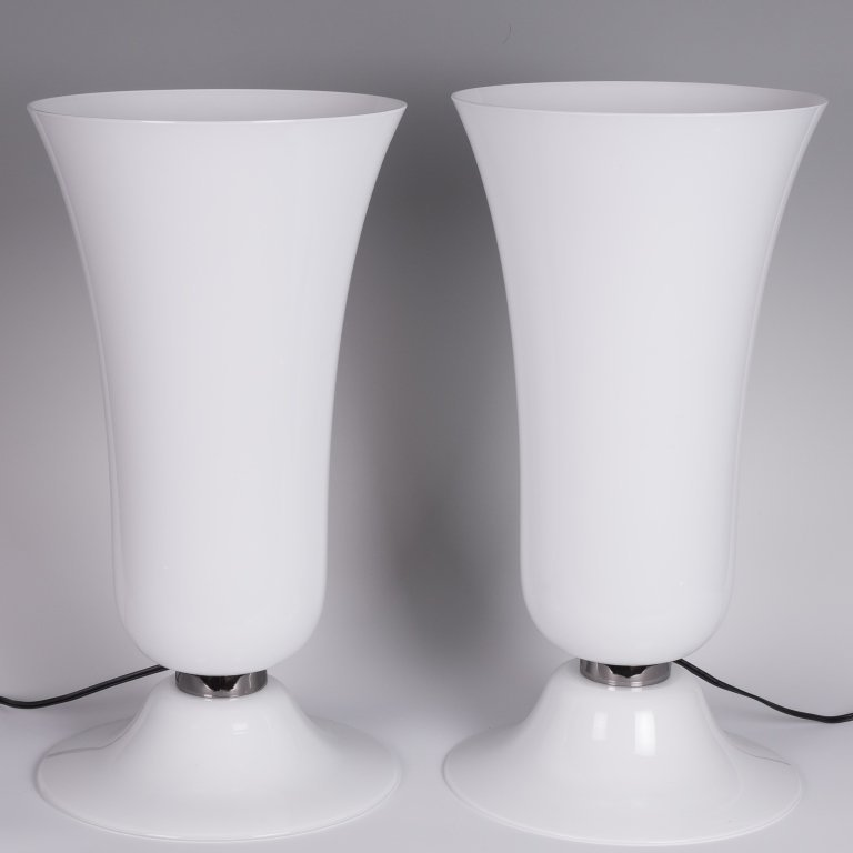 Pair Italian Torchiere Table Lamps - Signed