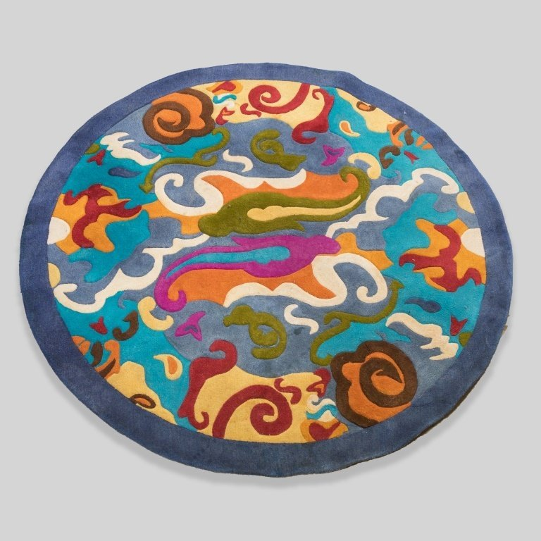 Mid Century Round Abstract Rug