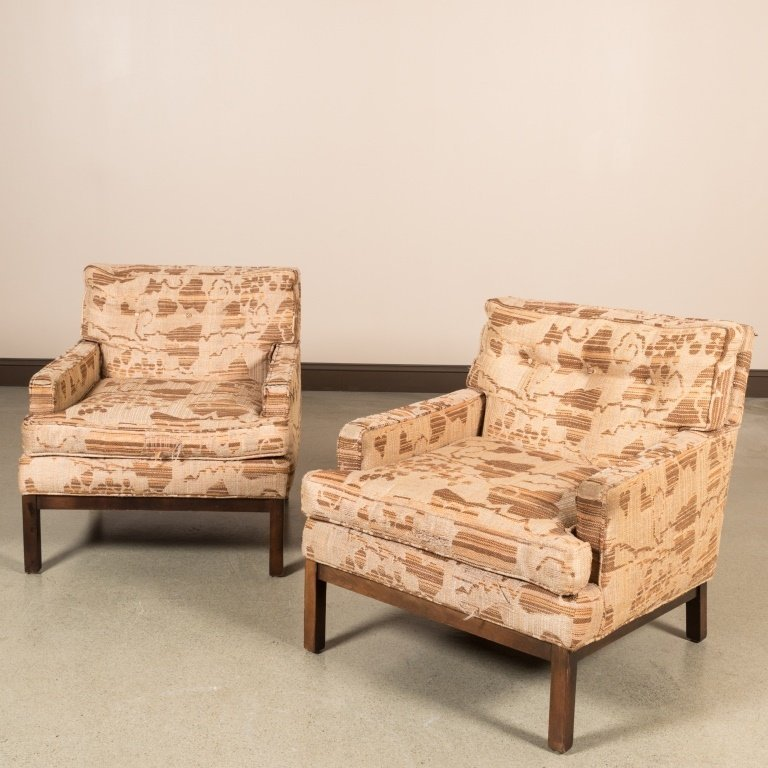 Pair Milo Baughman Directional Lounge Chairs