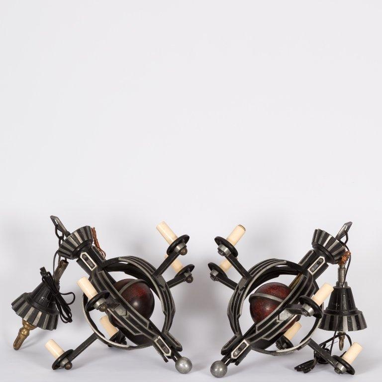 Pair Machine Age Aluminum Five Light Chandeliers