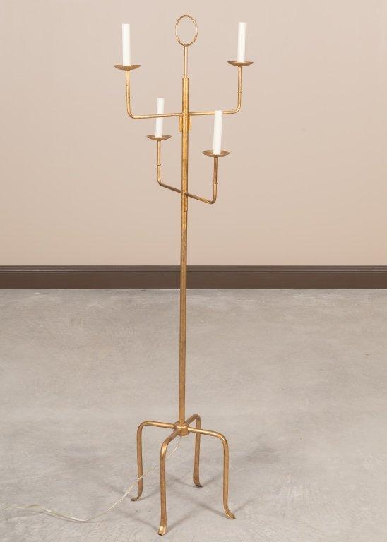Parzinger-Style Gilt Metal Floor Lamp
