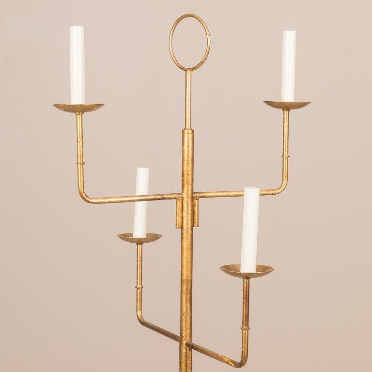 Parzinger-Style Gilt Metal Floor Lamp - 2