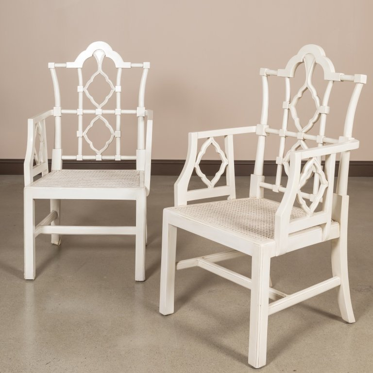 Pair Faux Bamboo Arm Chairs