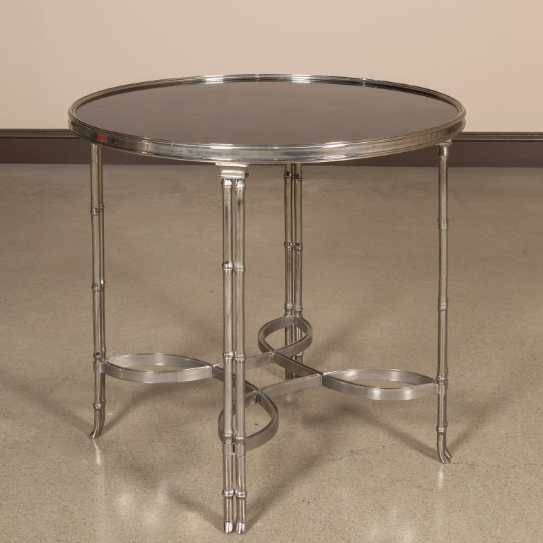 Chrome and Marble Faux Bamboo Lamp Table
