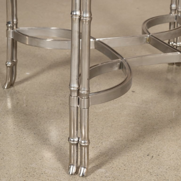 Chrome and Marble Faux Bamboo Lamp Table - 2