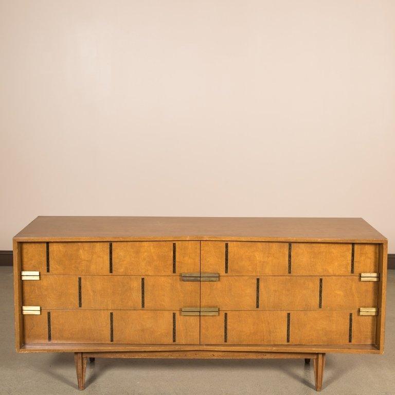 Walnut Block Front Concave Triple Dresser