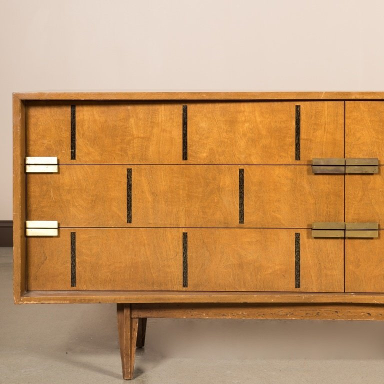 Walnut Block Front Concave Triple Dresser - 2