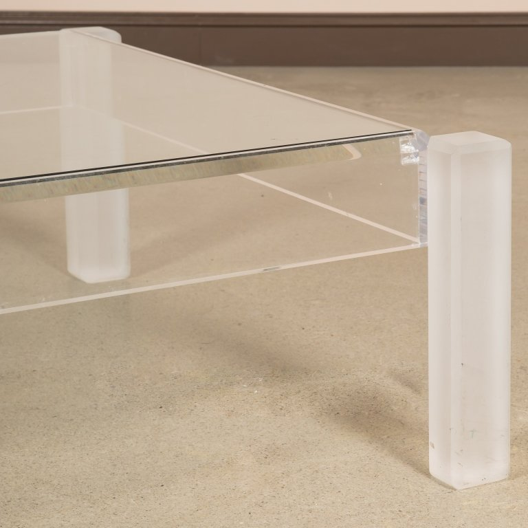 Lucite and Glass Coffee Table - 2