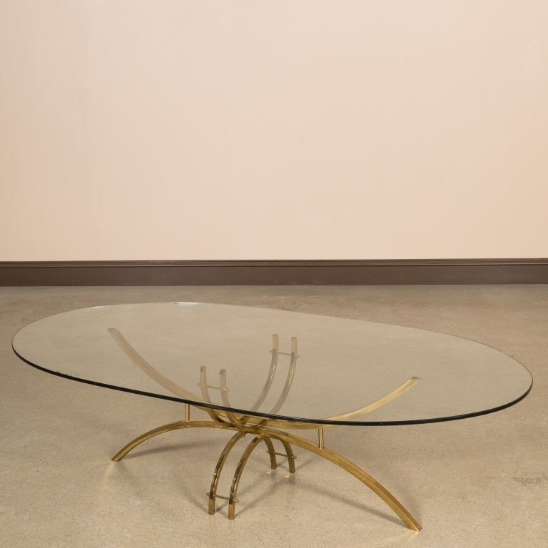 Mid Century Brass and Glass Oval Coffee Table