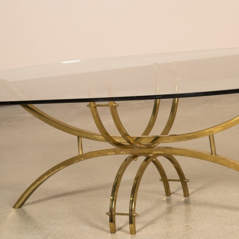 Mid Century Brass and Glass Oval Coffee Table - 2