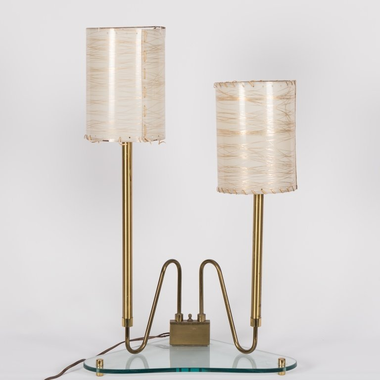 Fontana Arte Brass Double Stemmed Table Lamp