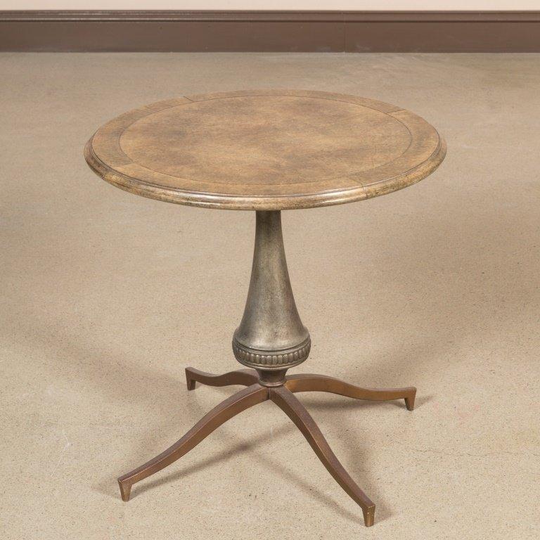 Bronze and Goatskin Pedestal Lamp Table