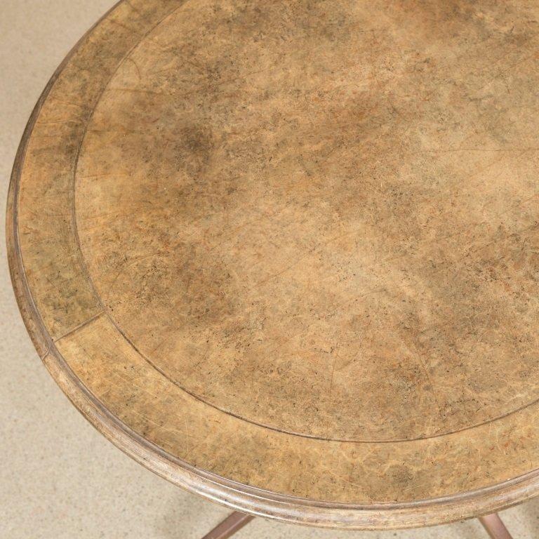 Bronze and Goatskin Pedestal Lamp Table - 3