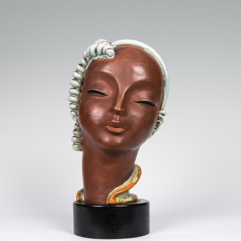 Goldscheider Pottery Bust - Signed