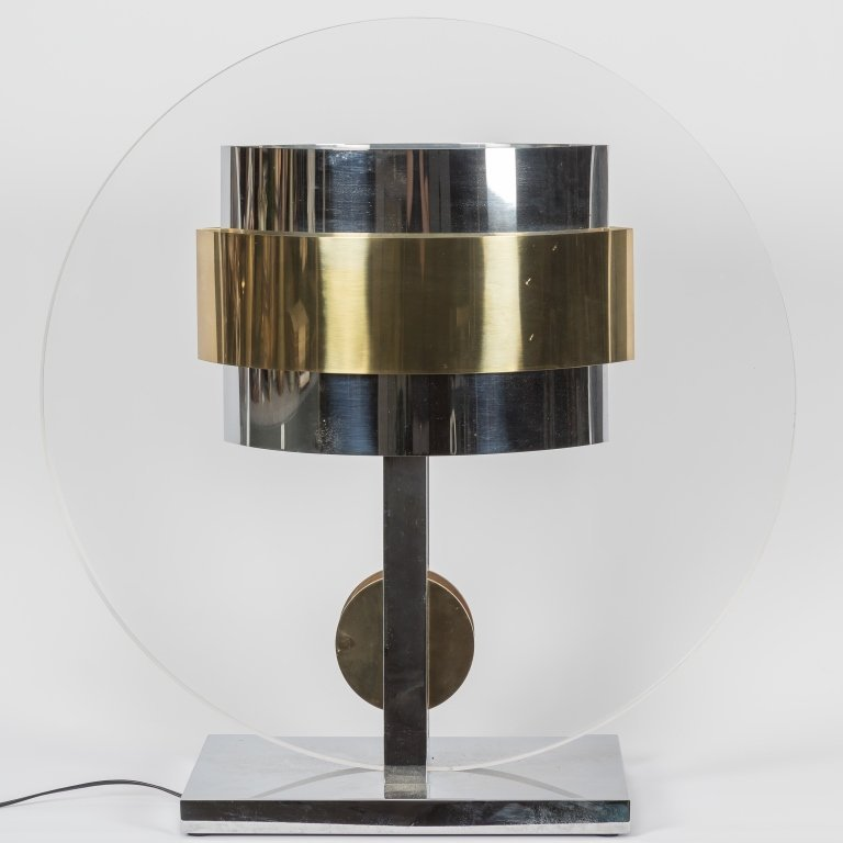 Lucite, Chrome and Brass Lamp - Springer
