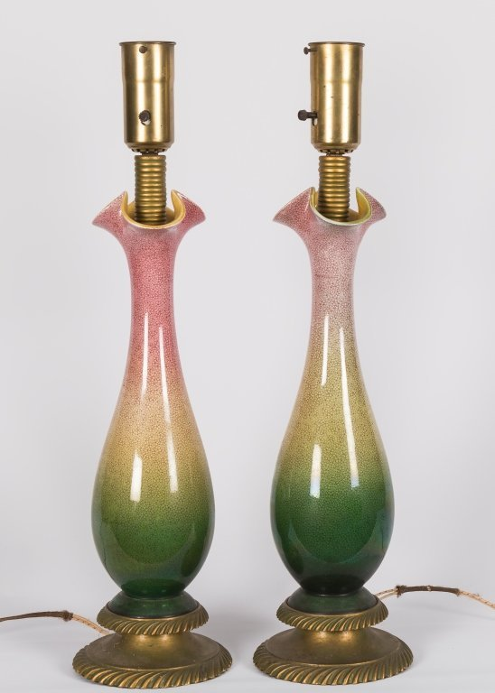 Pair Mid Century Brass and Pottery Table Lamps