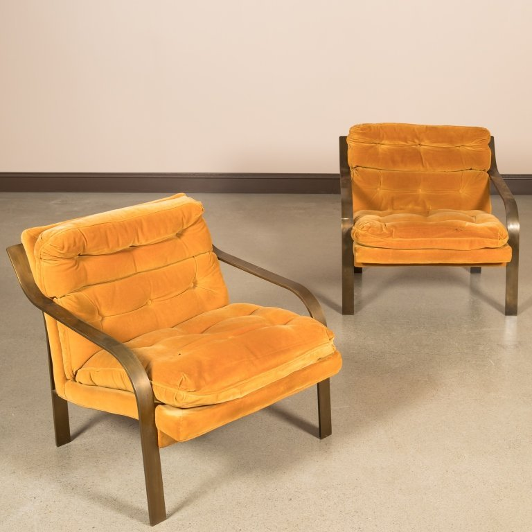 Pair Patinated Iron Modern Lounge Chairs