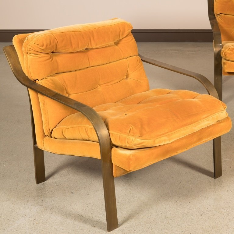 Pair Patinated Iron Modern Lounge Chairs - 2