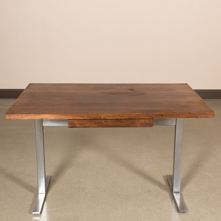 Knoll-Style Rosewood and Chrome Desk