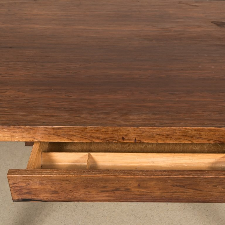 Knoll-Style Rosewood and Chrome Desk - 3
