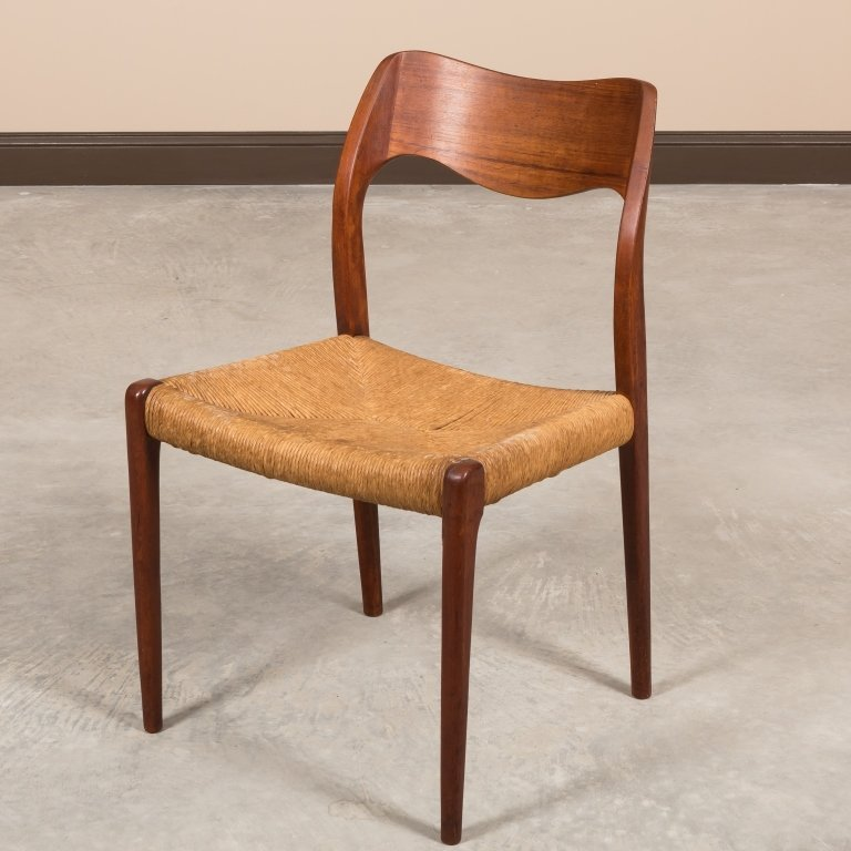 Moller Teak and Rush Seat Desk Chair