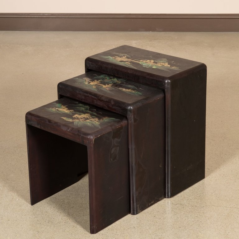 Nest of Three Japanned Tables