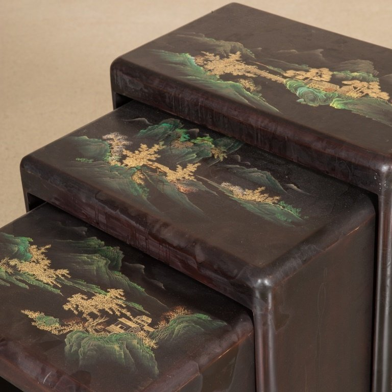 Nest of Three Japanned Tables - 2
