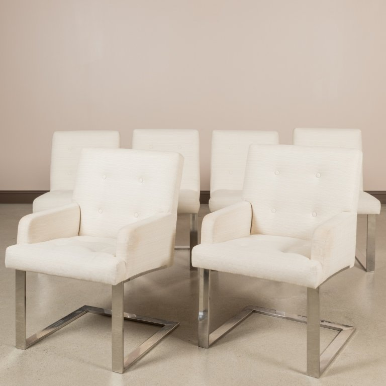 Set of Six Paul Evans Cantilever Dining Chairs
