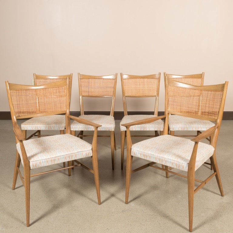 Set of Six Reed Back Dining Chairs by Paul McCobb