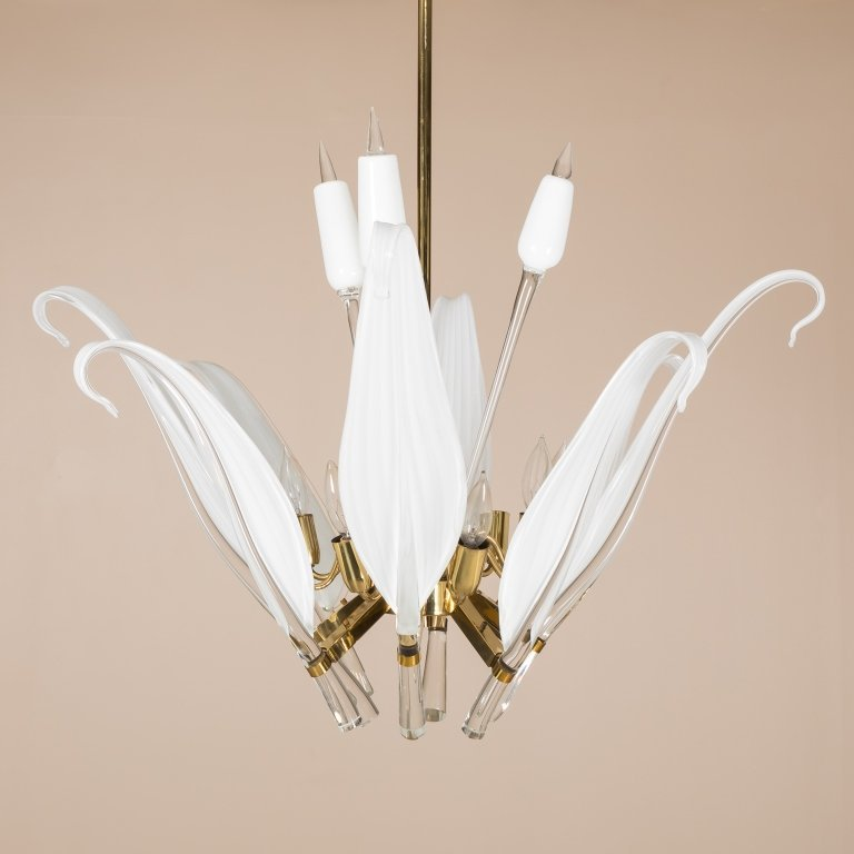 Seguso Murano Large Glass Leaf Cattail Chandelier