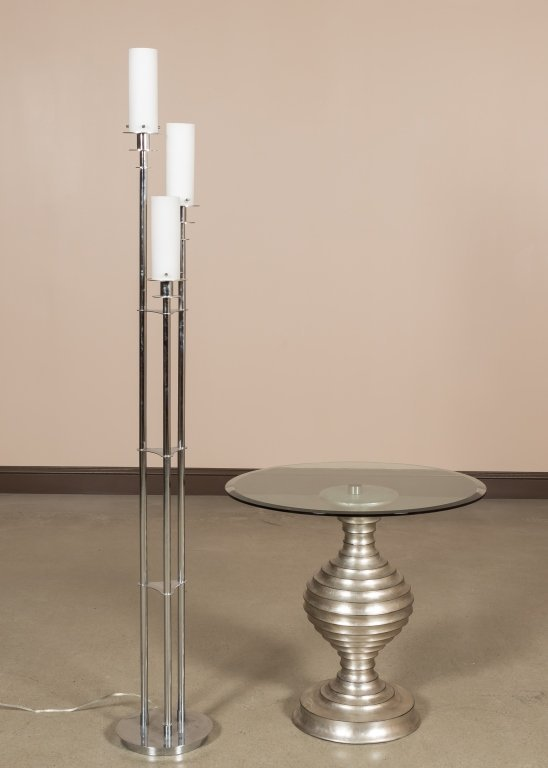 Glass Top Table and Three-Light Floor Lamp