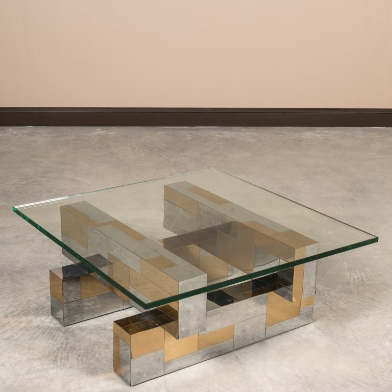 Paul Evans Cityscape Glass Top Coffee Table