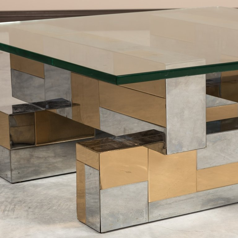 Paul Evans Cityscape Glass Top Coffee Table - 2