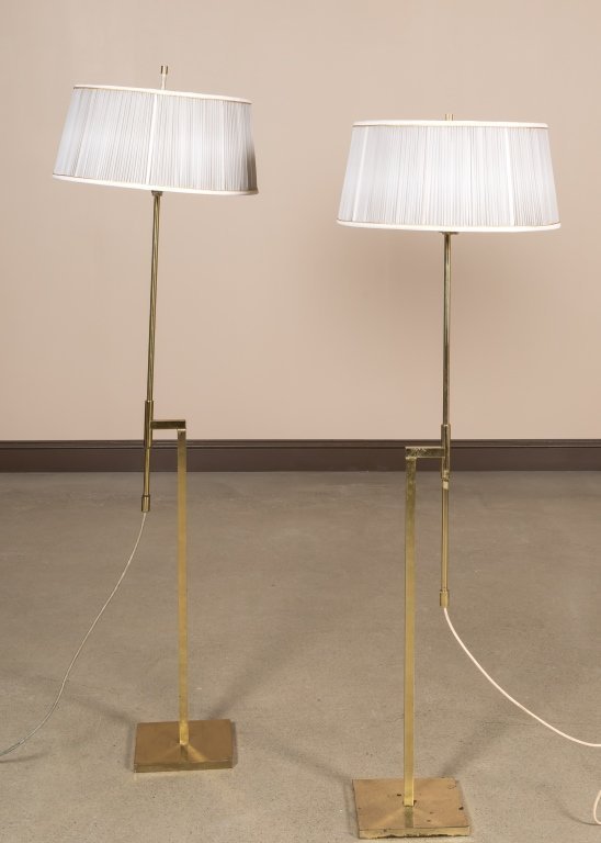 Pair Adjustable Brass Floor Lamps by Laurel