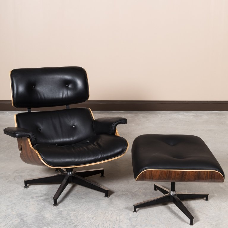Laminated Rosewood Eames Style Chair and Ottoman