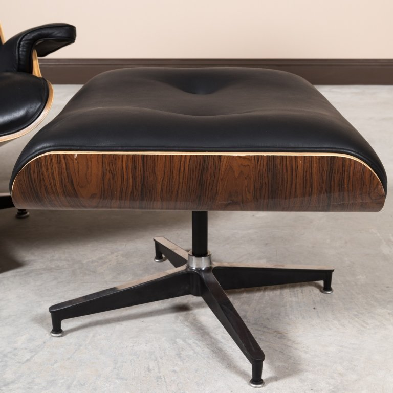 Laminated Rosewood Eames Style Chair and Ottoman - 2