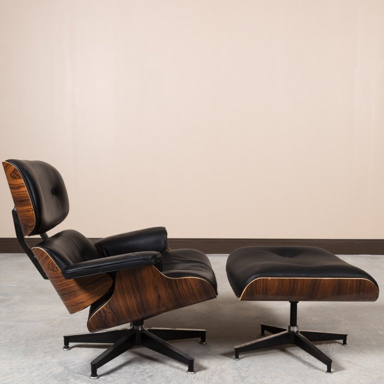 Laminated Rosewood Eames Style Chair and Ottoman - 4