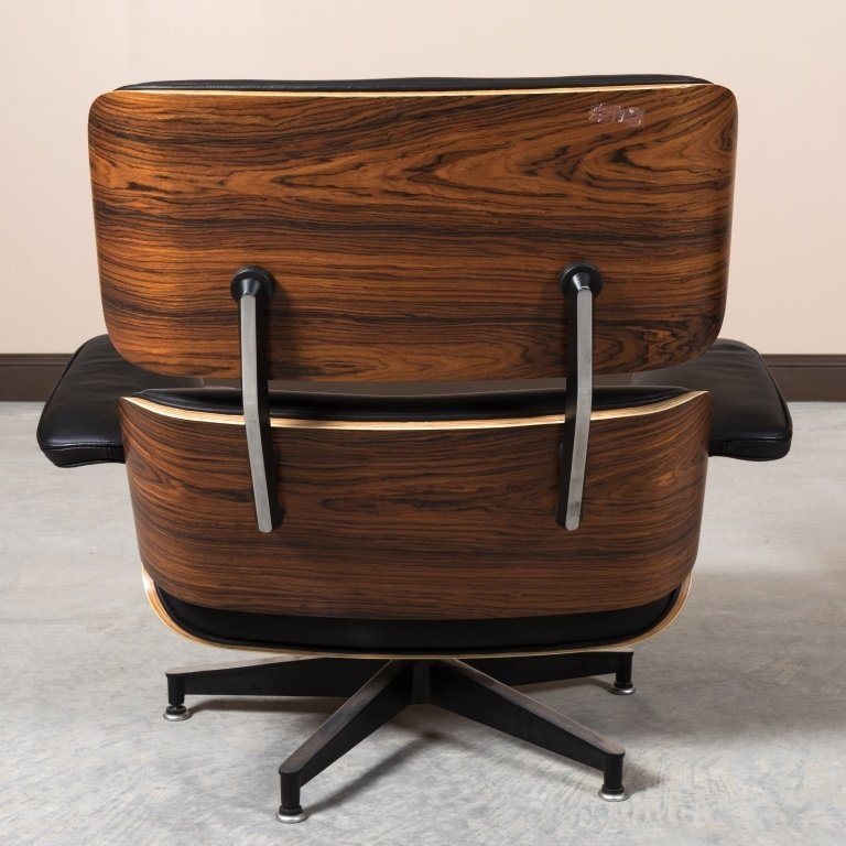Laminated Rosewood Eames Style Chair and Ottoman - 5