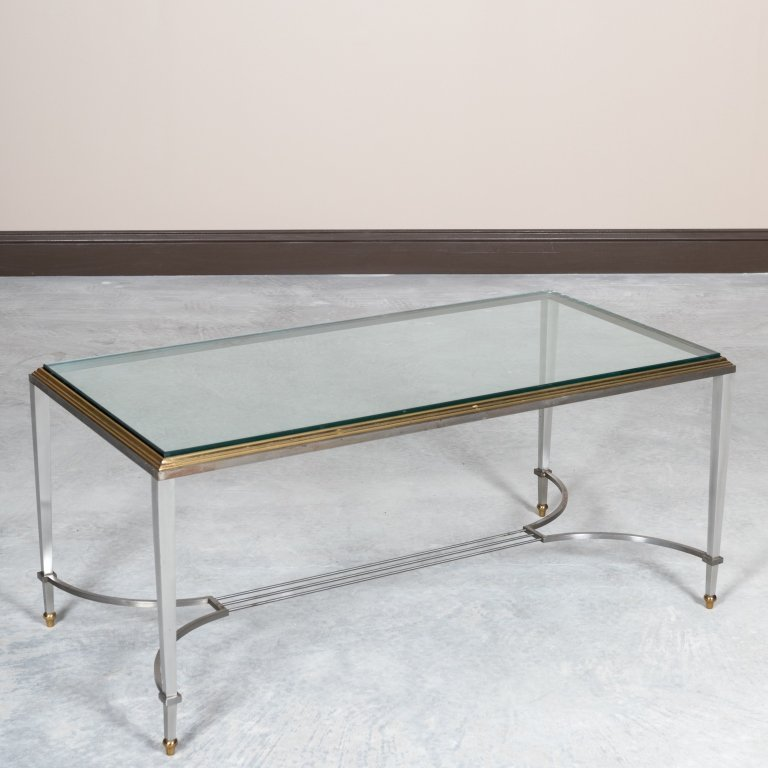 Mid Century Steel, Brass and Glass Coffee Table