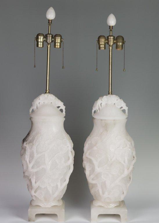 Pair Alabaster Lamps