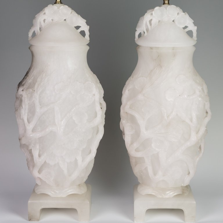 Pair Alabaster Lamps - 2