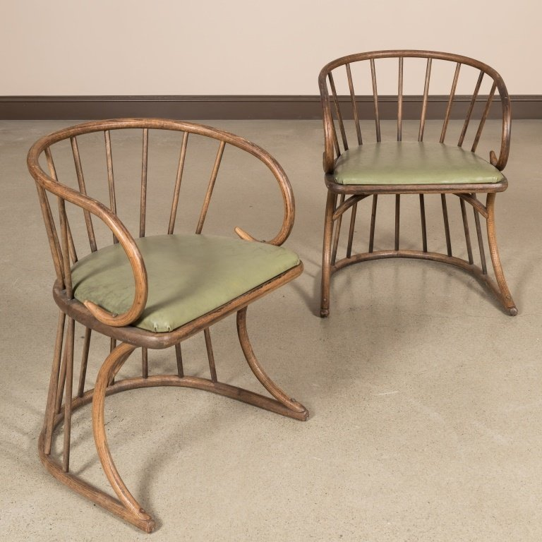 Pair Oak Bentwood Chairs