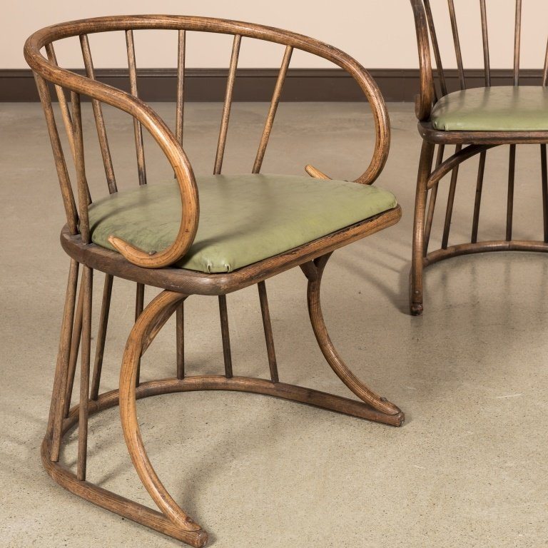 Pair Oak Bentwood Chairs - 2