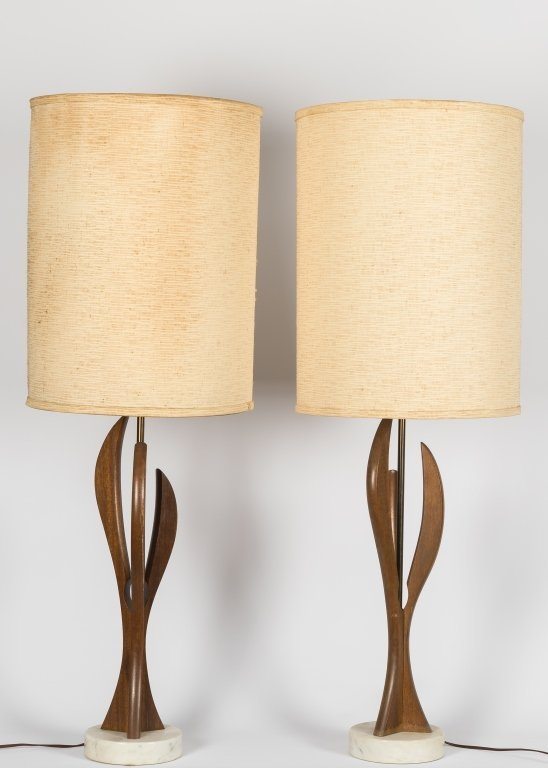 Pair Sculptura Walnut Lamps on Marble Bases