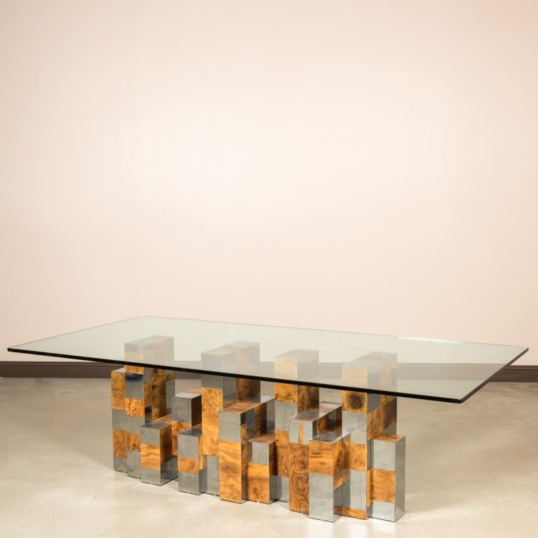 Paul Evans Chrome and Ash Glass Top Dining Table