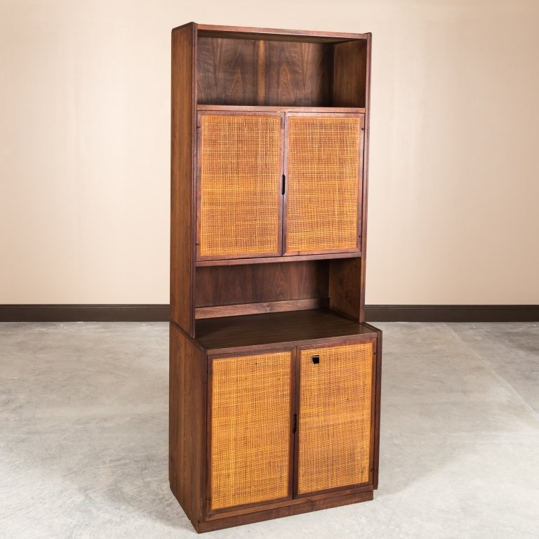 Mid Century Two Part Cane Front Mahogany Cabinet
