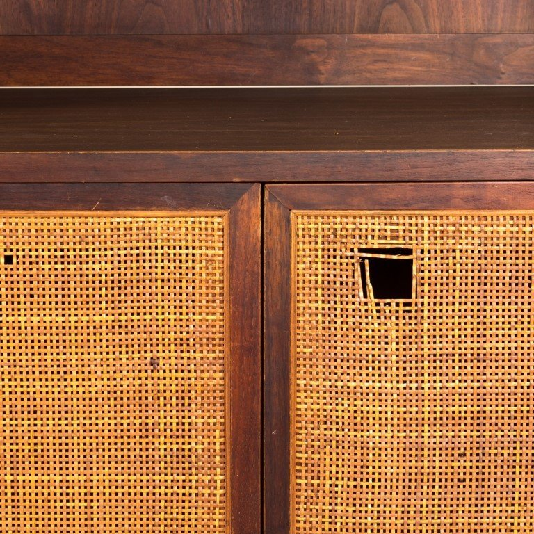 Mid Century Two Part Cane Front Mahogany Cabinet - 2
