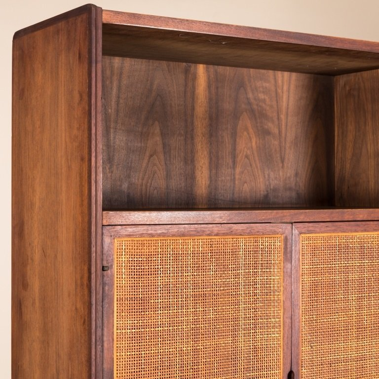 Mid Century Two Part Cane Front Mahogany Cabinet - 3