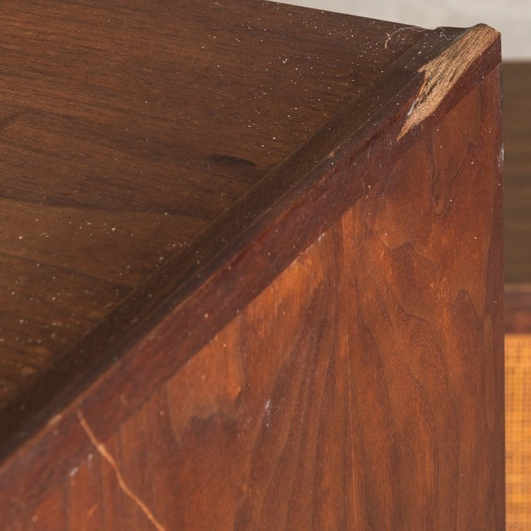 Mid Century Two Part Cane Front Mahogany Cabinet - 4