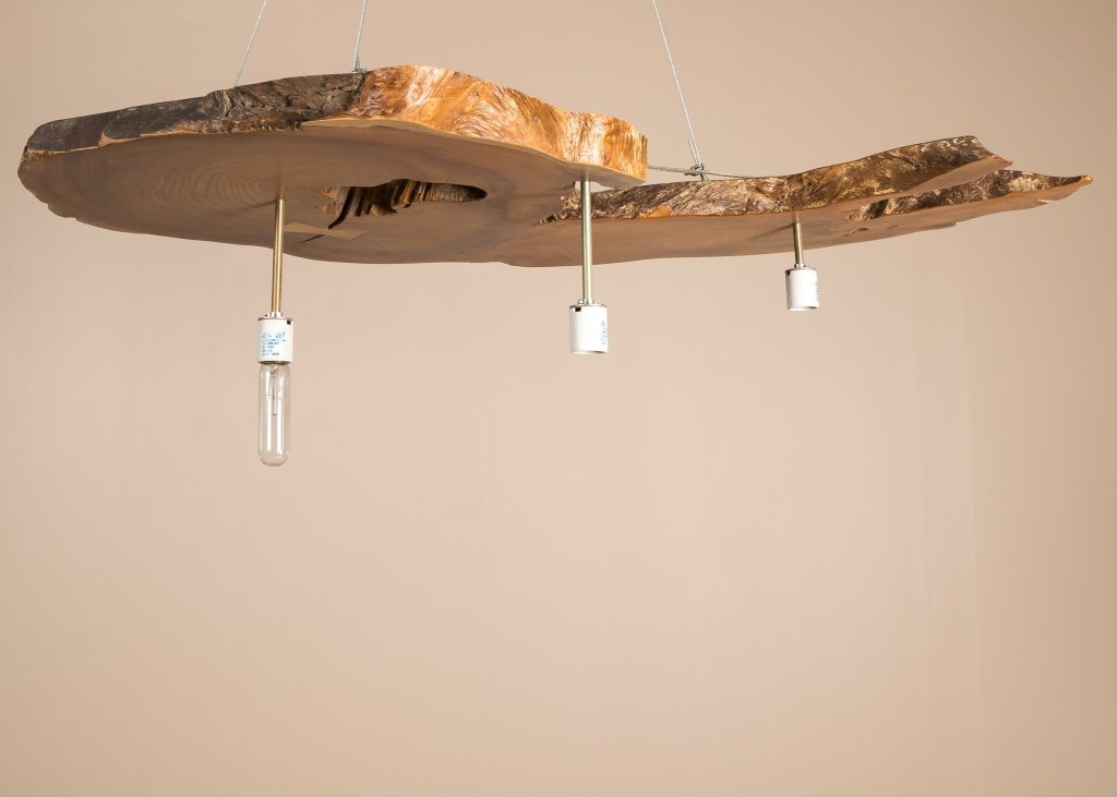 Modern Live Edge Cross Section Chandelier